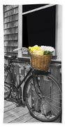 Bicycle With Flower Basket Bath Towel
