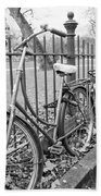 Bicycles Parked At Fence On Street, Netherlands Bath Towel