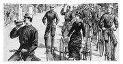 Bicyclist Meeting, 1884 Bath Towel