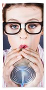 Big Business Kid Making Phone Call With Tin Cans Bath Towel