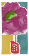 Big Purple Flower In A Small Vase- Art By Linda Woods Bath Towel