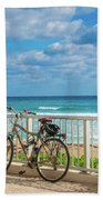 Bike Break At The Beach Bath Sheet