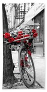 Bike With Red Roses Bath Towel