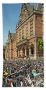 Bikes In Front Of Dutch University Bath Towel