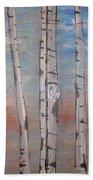 Birch Trees - Clouds Bath Towel