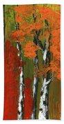 Birch Trees In An Autumn Forest Bath Towel