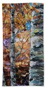Birch Trees Oil Painting With Palette Knife  Bath Towel