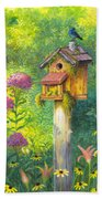 Bird House And Bluebird  Bath Towel