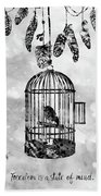 Bird In A Cage-black Bath Towel
