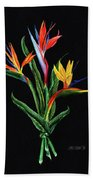 Bird Of Paradise In Black Bath Towel