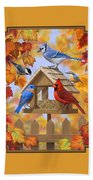 Bird Painting - Autumn Aquaintances Hand Towel by Crista Forest