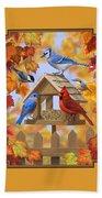 Bird Painting - Autumn Aquaintances Bath Towel by Crista Forest