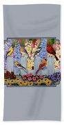 Bird Painting - Spring Garden Party Bath Sheet by Crista Forest