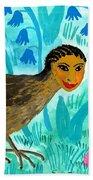 Bird People Blackbird And Worm Hand Towel