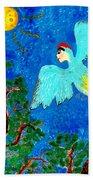 Bird People Green Woodpecker Bath Towel