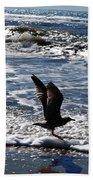Bird Taking Flight On The Shore Bath Towel