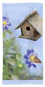 Birdhouse In A Country Garden Hand Towel