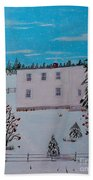 Birds Berries And November Snow Bath Towel