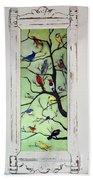 Birds In The Tree Framed Bath Towel