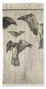 Birds Nailed To A Barn Door (le Haut D'un Battant De Porte) Bath Towel