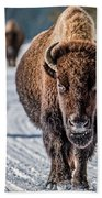 Bison In The Road - Yellowstone Bath Towel