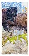 Bison Pair Bath Towel by Ray Shiu