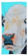 Black And White Cow On Blue Background Hand Towel