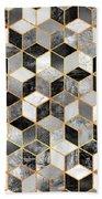 Black And White Cubes Bath Towel by Elisabeth Fredriksson