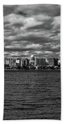 Black And White Mad Town Bath Towel