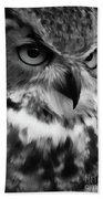 Black And White Owl Painting Bath Towel