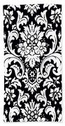 Black And White Paisley Pattern Vintage Bath Towel