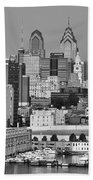 Black And White Philadelphia - Delaware River Bath Towel
