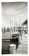 Black And White Photography - Martha's Vineyard - Black Dog Wharf Bath Towel