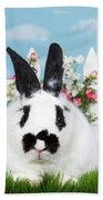 Black And White Spring Bunny Bath Towel