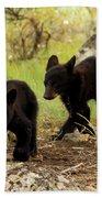 Black Bear Cubs Bath Towel