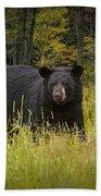 Black Bear In The Grass Bath Towel