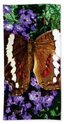 Black Butterfly On Heliotrope Bath Towel