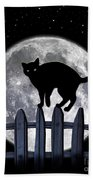 Black Cat And Full Moon 3 Bath Towel