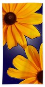 Black-eyed Susans On Blue Bath Towel