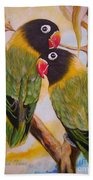 Black Faced Love Birds.  Chloe The Flying Lamb Productions  Bath Towel