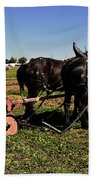Black Horses With Sulky Plow Two  Bath Towel