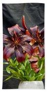 Black Lilies Bath Towel