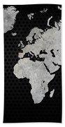 Black Metal Industrial World Map Bath Towel