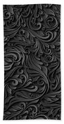 Black Paper Floral Seamless Pattern Bath Towel