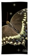 Black Swallowtail On Black Bath Towel