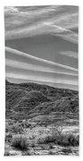 Black White Chem Trails Sky Overton Nevada  Hand Towel