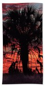 Blood Red Sunset Palm Bath Towel