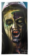 Bloody Zombie Nurse Screaming Out In Insanity Bath Towel