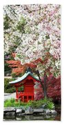 Blossoms Abound In The Japanese Garden Bath Towel
