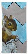 Blue And Beige Chevron Squirrel Bath Towel